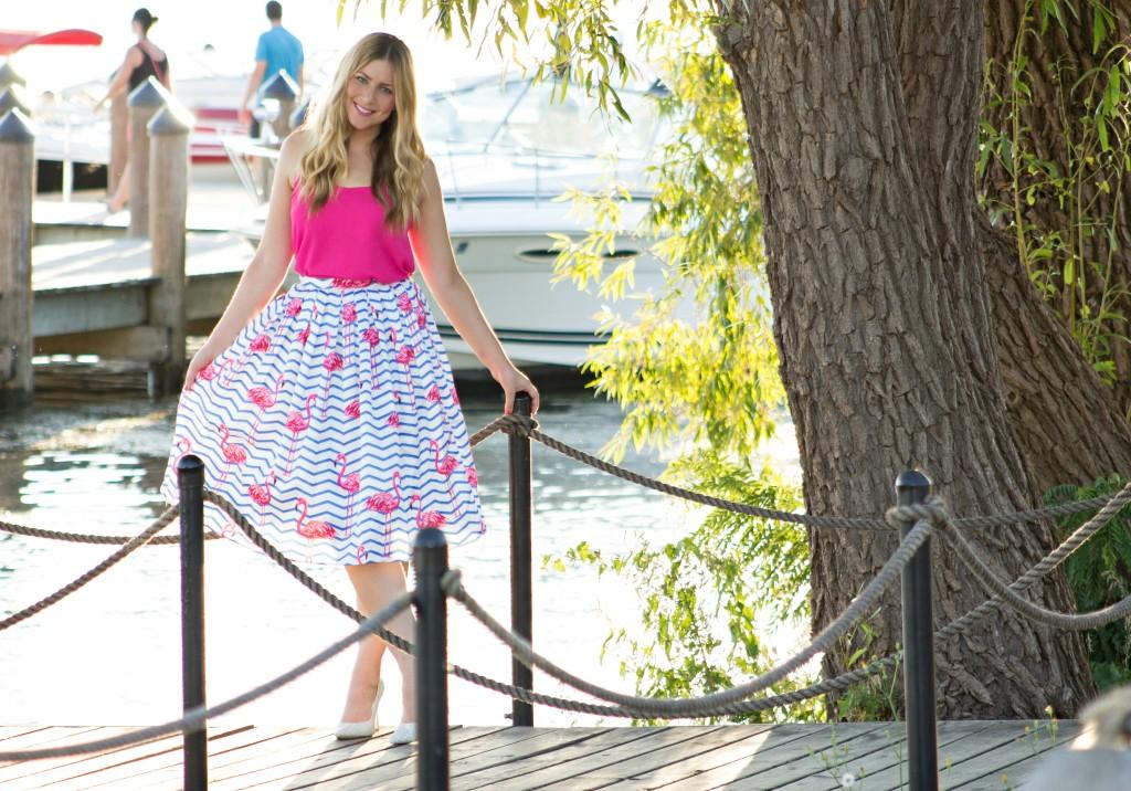 flamingo print skirt