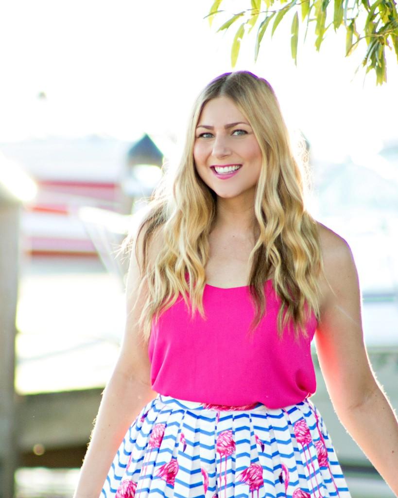 summer style - flamingo print skirt