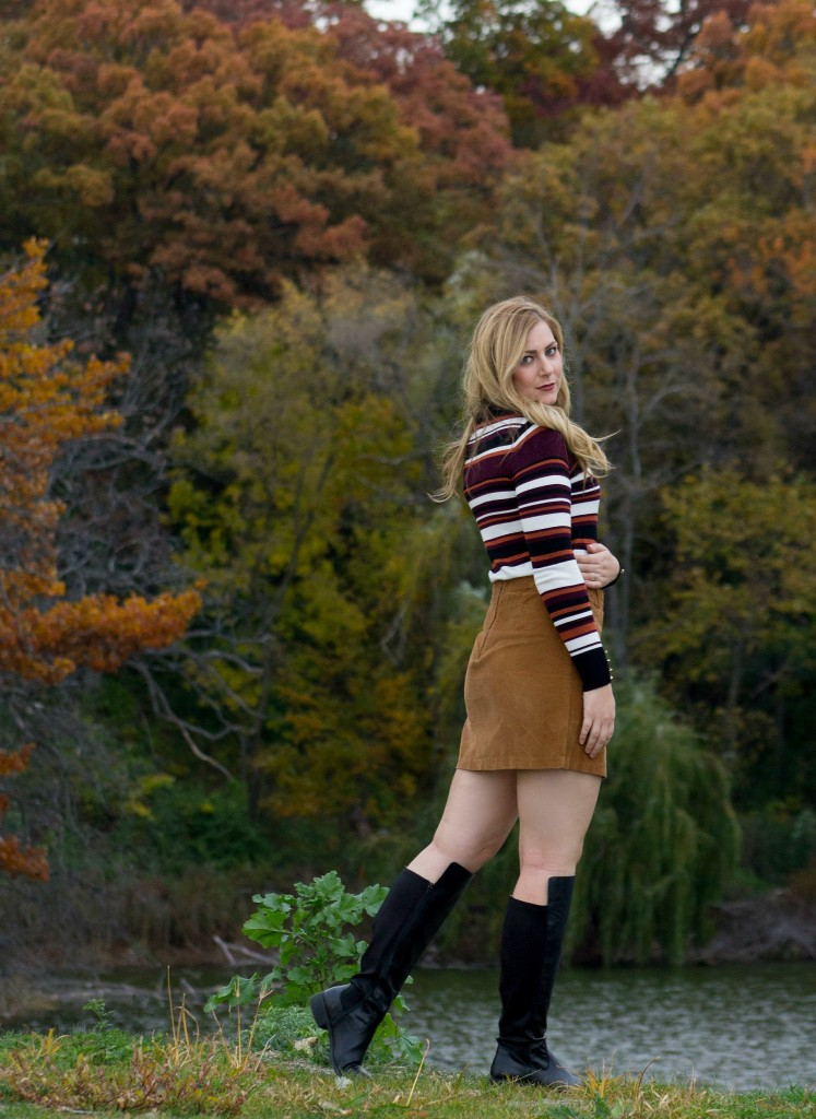 striped-sweater-corduroy-skirt-and-black-boots