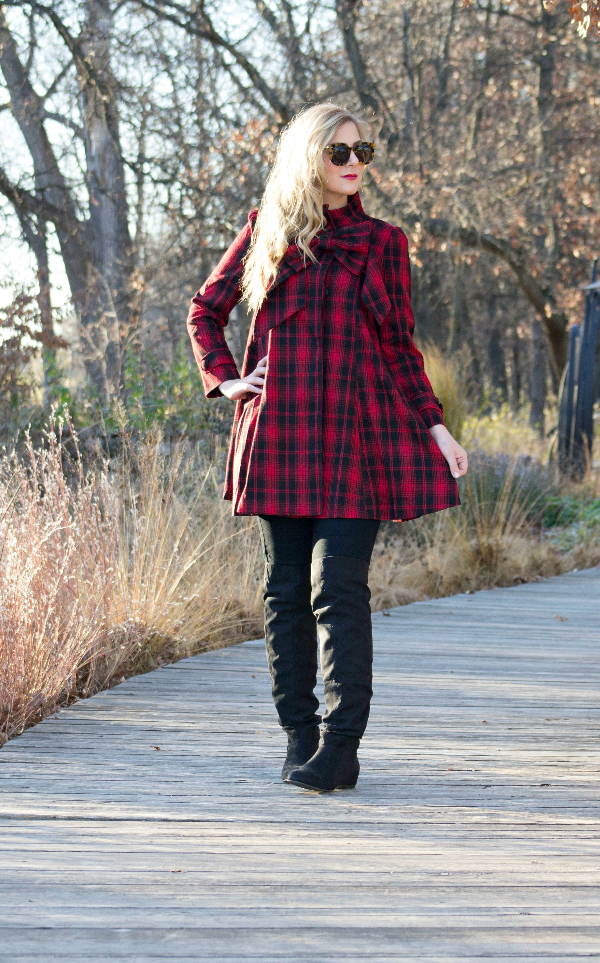 red-tartan-dress-and-over-the-knee-boots