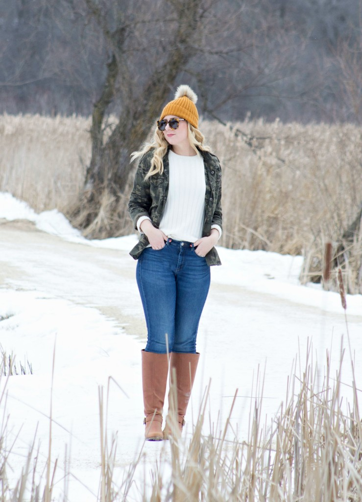 Winter Style - Camo Jacket and Pom Pom Hat