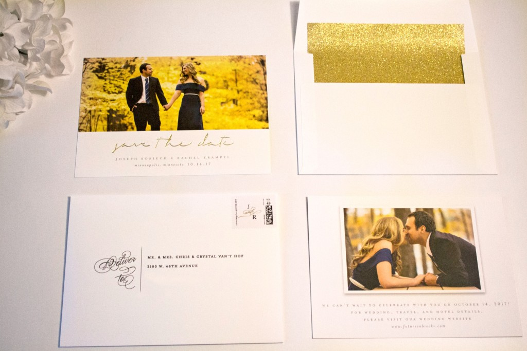 Minted Save the Dates with custom stamps and liners