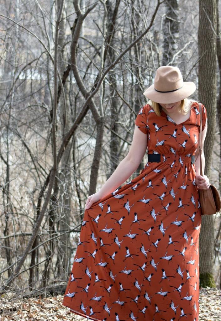 Stork print dress_eShakti