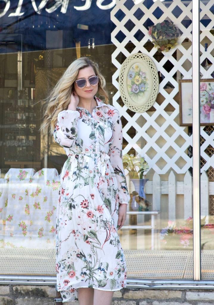 White Floral Dress - Spring Dress