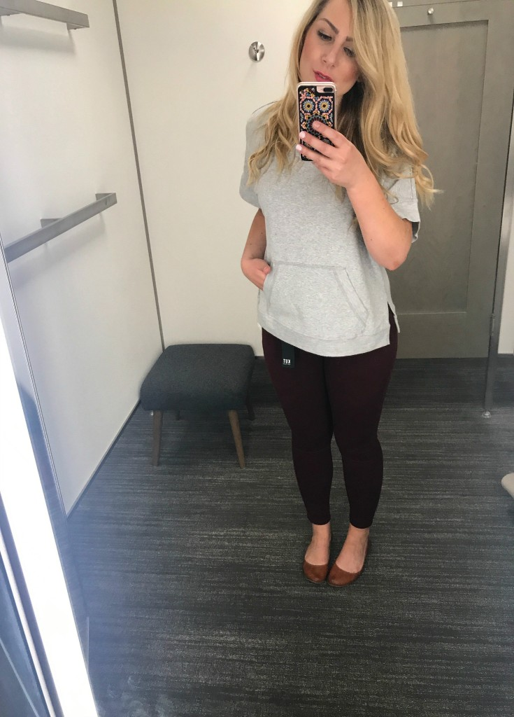 Gray Top + Kut Burgundy Jeans