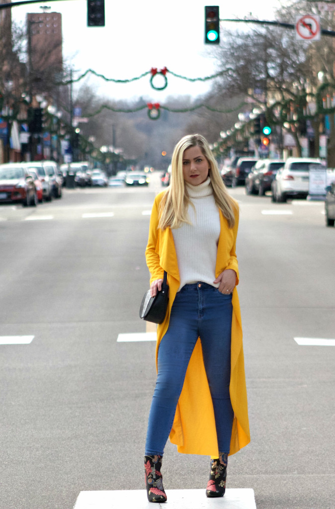 Yellow Cardigan, Embroidered Floral Booties